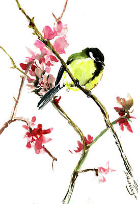 Painting - Great Tit And Spring Blossom by Suren Nersisyan