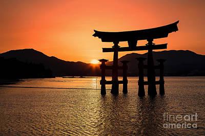 Floating Torii Photograph - Great Torii Sunset- Miyajima  by Rhonda Krause