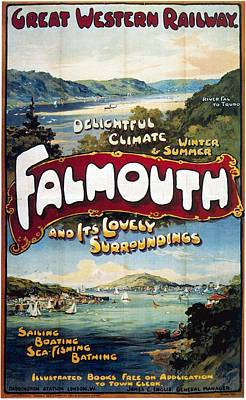 Landscapes Mixed Media - Great Western Railway - Falmouth - Retro travel Poster - Vintage Poster by Studio Grafiikka
