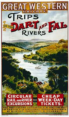 Landscapes Royalty-Free and Rights-Managed Images - Great Western Railway - Landscape Illustration - Vintage Advertising Poster for river cruises by Studio Grafiikka