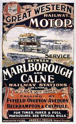 Western Art Mixed Media - Great Western Railway Motor - Marborough And Calne - Retro Travel Poster - Vintage Poster by Studio Grafiikka