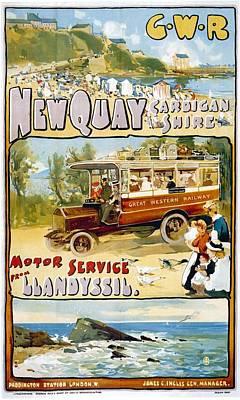 Western Art Mixed Media - Great Western Railway - Motor Service From Llandyssil - Retro Travel Poster - Vintage Poster by Studio Grafiikka