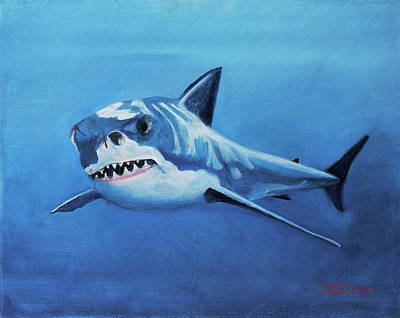 Sharks Painting - Great White 2 by Terry Lewey