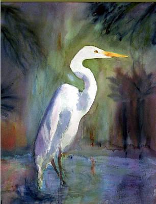 Great White Egret Art Print by Carol Sprovtsoff