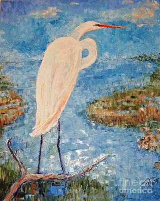 Sea Birds Painting - Great White Egret by Doris Blessington