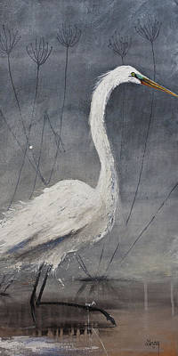 Painting - Great White Heron Original Art by Gray Artus