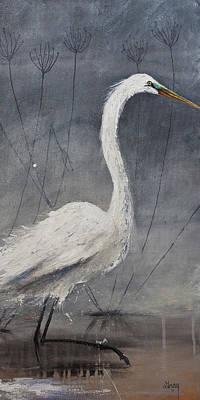 Painting - Great White Heron Original Art by Gray Artus