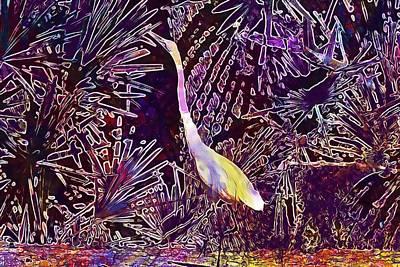 Digital Art - Great White Heron Tropical Bird  by PixBreak Art