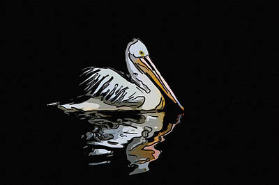 Tropical Painting - Great White Pelican Swimming On Lake 9 by Lanjee Chee
