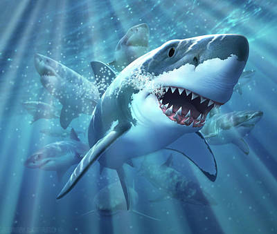 Tooth Digital Art - Great White Shark by Jerry LoFaro