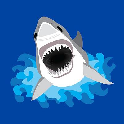 Great White Shark Leaps From Waves Art Print