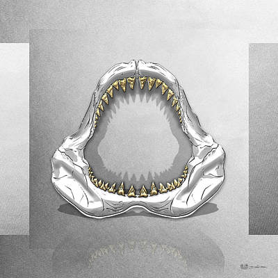 Great White Shark - Silver Jaws With Gold Teeth On White Canvas Original by Serge Averbukh