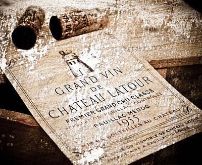 Mixed Media - Great Wines Of Bordeaux - Chateau Latour 1955 by Frank Tschakert