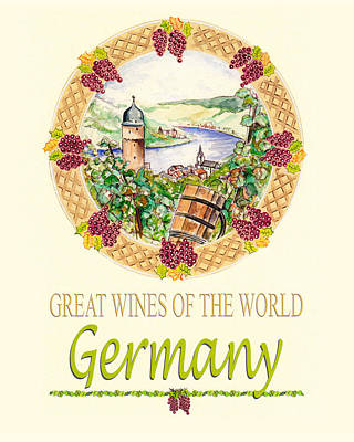 Painting - Great Wines Of The World - Germany by John Keaton