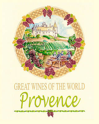 Painting - Great Wines Of The World - Provence by John Keaton