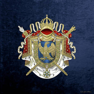 Napoleon Digital Art - Greater Coat Of Arms Of The First French Empire Over Blue Velvet by Serge Averbukh