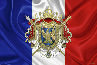 Napoleon Digital Art - Greater Coat Of Arms Of The First French Empire Over Flag Of France by Serge Averbukh