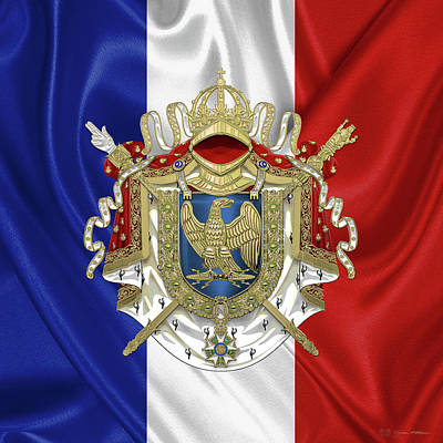 Napoleon Digital Art - Greater Coat Of Arms Of The First French Empire Over Flag by Serge Averbukh