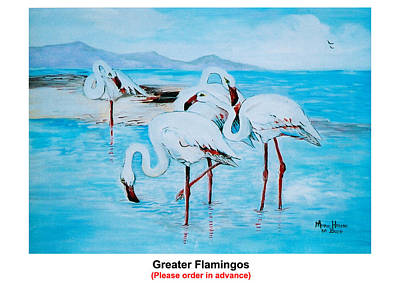 Greater Flamingos Painting - Greater Flamingos by Marie - Helene De Beer