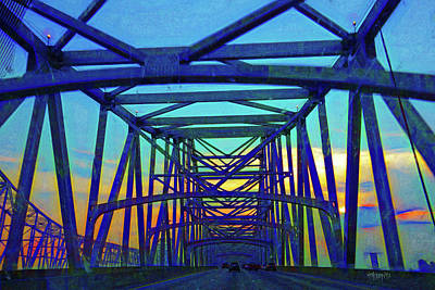Digital Art - Greater New Orleans Bridge - Sunset by Rebecca Korpita