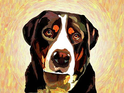 Swiss Mixed Media - Greater Swiss Mountain Dog by Alexey Bazhan