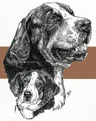 Mixed Media - Greater Swiss Mountain Dog And Pup by Barbara Keith