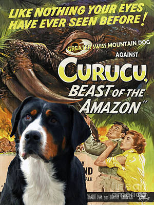 Painting - Greater Swiss Mountain Dog Art Canvas Print - Curucu Movie Poster by Sandra Sij
