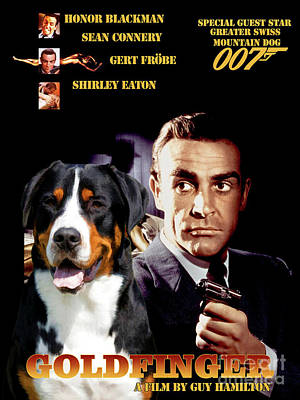 Painting - Greater Swiss Mountain Dog Art Canvas Print - Goldfinger Movie Poster by Sandra Sij