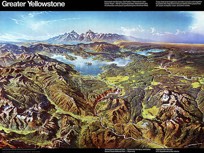 Drawing - Greater Yellowstone - Birds Eye View Map Of Yellowstone National Park And Grand Teton National Park  by Blue Monocle