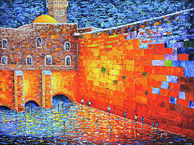 Wailing Wall Greatness In The Evening Jerusalem Palette Knife Painting Art Print by Georgeta Blanaru
