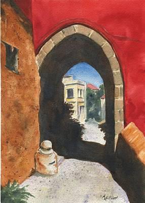 Grecian Passageway Print by Marsha Elliott