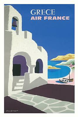 Crete Digital Art - Greece Air France Vintage Airline Travel Poster By Guy Georget by Retro Graphics