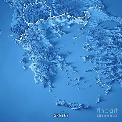 Landscape Digital Art - Greece Country 3d Render Topographic Map Blue Border by Frank Ramspott