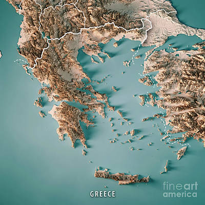 Topographic Map Of Ancient Greece.Aegean Islands Digital Art Fine Art America