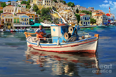 Skopelos Painting - Greece Fisherman by Tim Gilliland