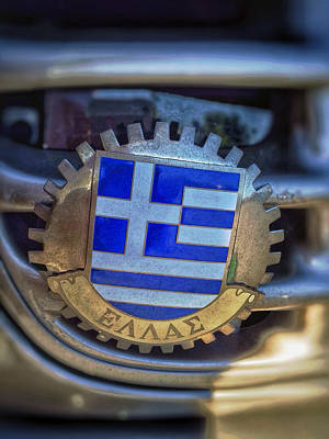 Photograph - Greece Flag Car Emblem by Bill Owen