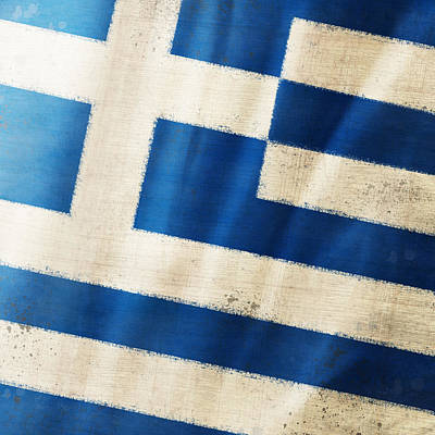 Damaged Photograph - Greece Flag by Setsiri Silapasuwanchai