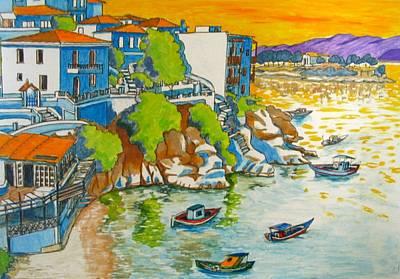 Skiathos Painting - Greece Skiathos Plakes by Yvonne Ayoub