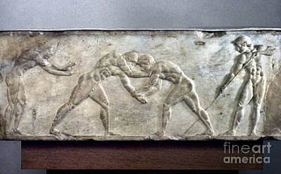 Photograph - Greece: Wrestlers by Granger
