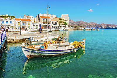 Photograph - Greek Boat At Agios Nikolaos Port by Marek Poplawski