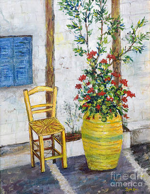 Painting - Greek Chair by Lou Ann Bagnall