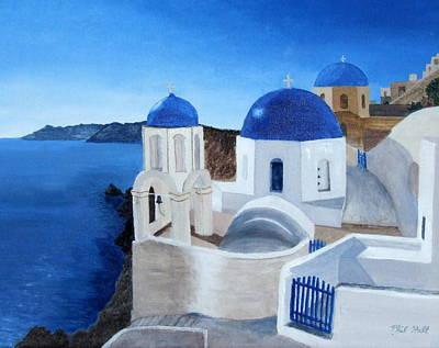 Greek Church At Santorini Art Print by Philip Hall