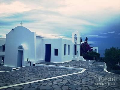 Greek Photograph - Greek Church Sunrise by Cimorene Photography