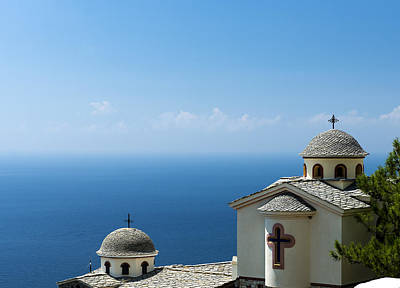 Photograph - Greek Church Over The Sea by Radoslav Nedelchev