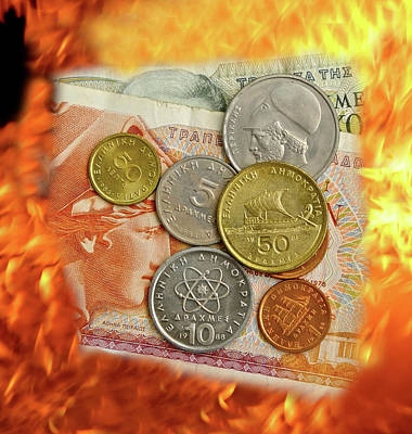 Burning Money Photograph - Greek Currency Pre Euro Flames, Money, Cash, Money Crisis by David Cole