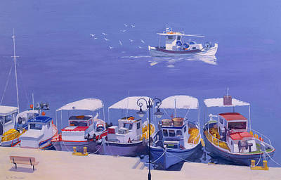 Lamppost Painting - Greek Fishing Boats by William Ireland