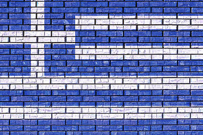 Greek Icon Digital Art - Greek Flag Graffiti by Roy Pedersen
