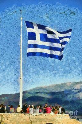 Painting - Greek Flag In Acropolis Of Athens by George Atsametakis