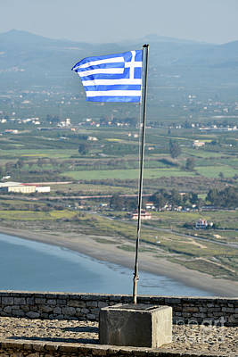 Photograph - Greek Flag On Palamidi Castle by George Atsametakis