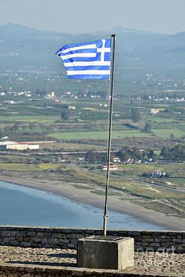 Photograph - Greek Flag On Palamidi Castle by George Atsametakis